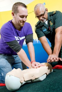 Paul Cowling and Community Resuscitation Officer Ricky Lawrence