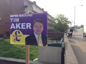 Poster wars: one of many UKIP posters in South Ockendon