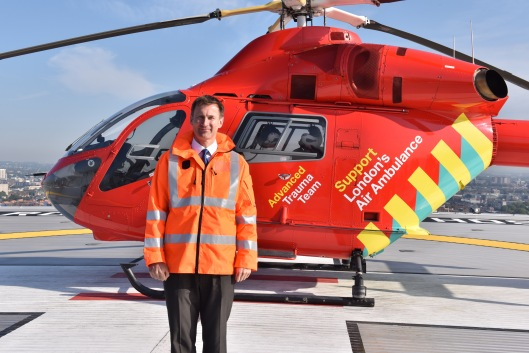 Health Secretary Jeremy Hunt on the Royal London helipad