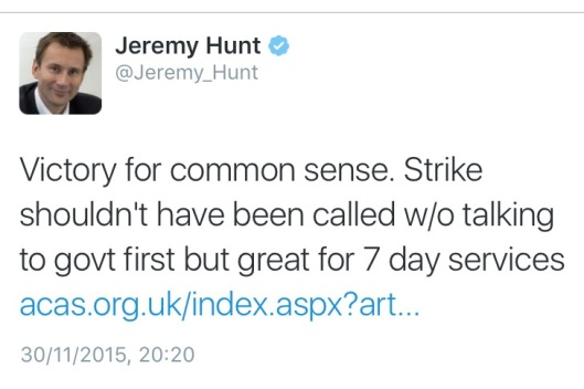 Jeremy Hunt junior docs tweet