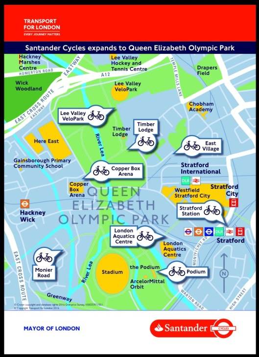 Boris bike map of Olympic docking stations