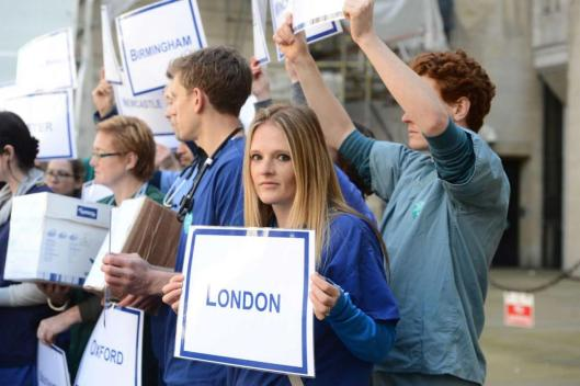 Junior doctors, including Dr Ruth Wood, protest outside the Department of Health. Pic by Jeremy Selwyn