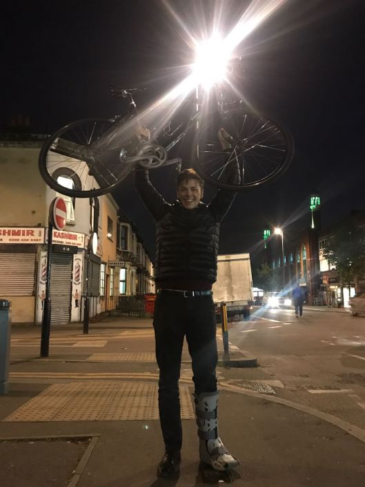 Charlie with the bike