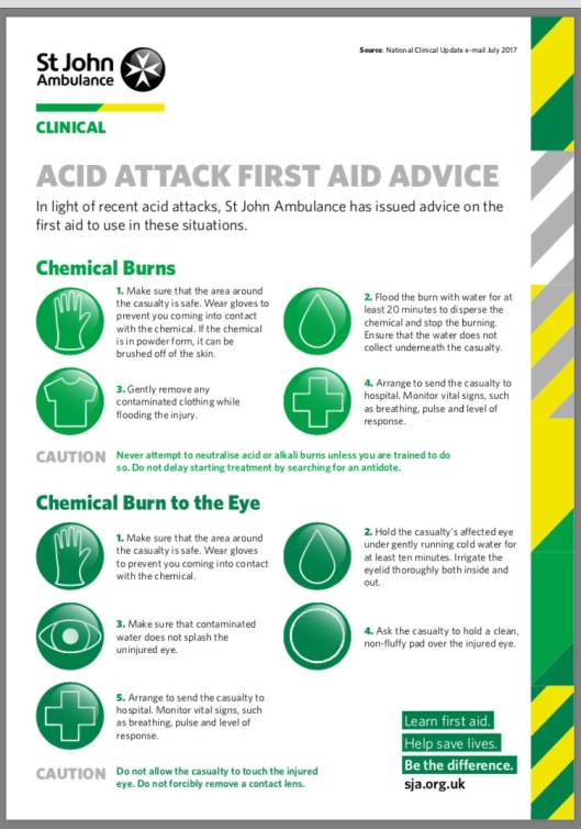 St John Ambulance acid advice