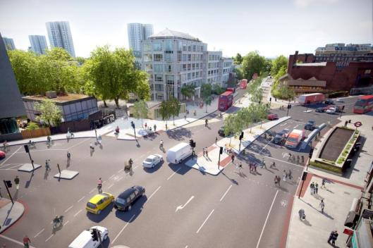 CS11 cycle superhighway at Swiss Cottage
