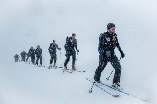 Team BMS group led by Tom Bodkin from Secret Compass battle through the blizzards on the last day of the Everest in the Alps challenge.