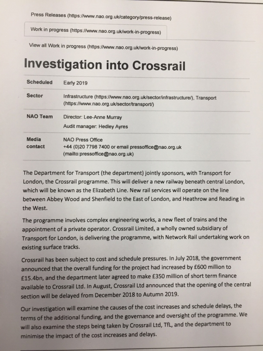NAO investigation into Crossrail