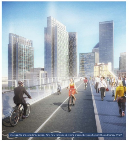 Canary Wharf bridge in TfL business plan